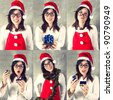 Santa portrait, various poses of cute Asian female Santa with gift box. - stock photo