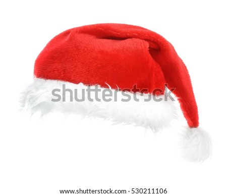 Santa red hat on white