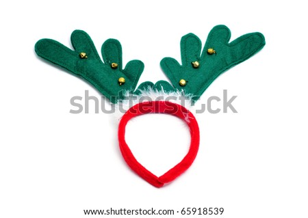 santa reindeer horns isolated on a white background - stock photo