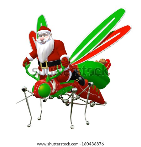 Santa Riding Futuristic Flying Machine: Santa on a contraption that looks like a mechanical mosquito with antlers. Isolated on white.