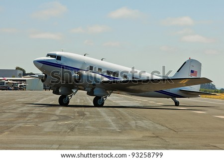 SANTA ROSA, CA - AUG 21: 1942 Douglas DC3A aircraft on display during the Wings Over Wine Country Air Show, on August 21, 2011, Charles M. Schulz - Sonoma County Airport, Santa Rosa, CA. - stock photo