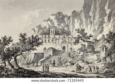 Santa Rosalia grotto, Mount Pellegrino, Palermo, Italy. By Chatelet and Du Parc, published on Voyage Pittoresque de Naples et de Sicilie,  J. C. R. de Saint Non, Imprimerie de Clousier, Paris, 1786 - stock photo