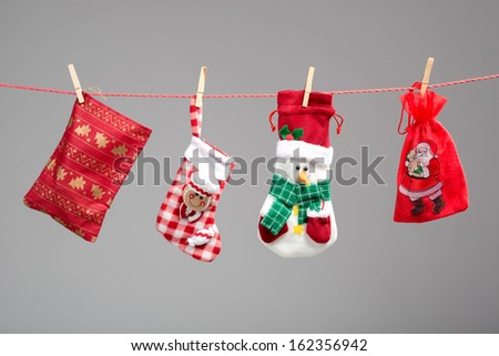 Santa's bag on the clothesline