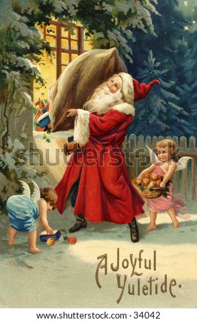 Santa's Delivery - an early 1900s vintage greeting card illustration. - stock photo