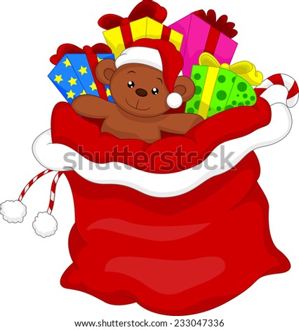 Santa's gift bag full of toys and gifts over white - stock photo