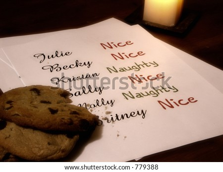 Santa's Naughty or Nice List for Girls - stock photo