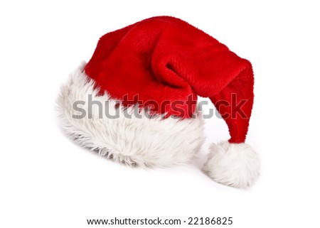 Santa's red hat on white background