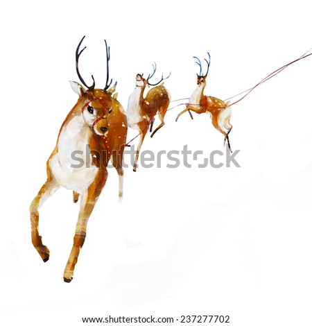 Santa's Reindeer. Christmas Reindeer. Digital illustration Christmas Reindeer, journey across the sky. Realistic painting. Isolated background. - stock photo