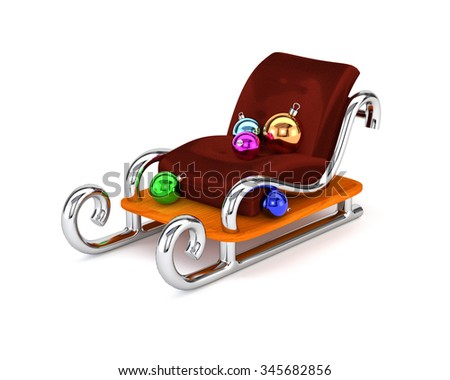 Santa's sleigh with multicolored Christmas balls isolated on a white background. The concept festive gift delivery. 3d illustration. - stock photo