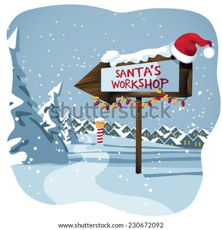 Santa's workshop sign at the north pole  - stock photo