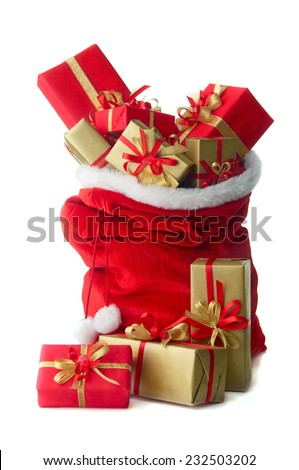 Santa sack full with presents - stock photo