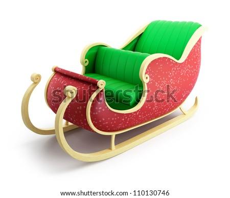 santa sleigh on white background - stock photo
