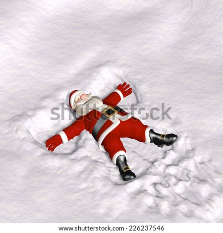 Santa Snow Angel - Santa laying on his back in the snow making snow angels.  - stock photo
