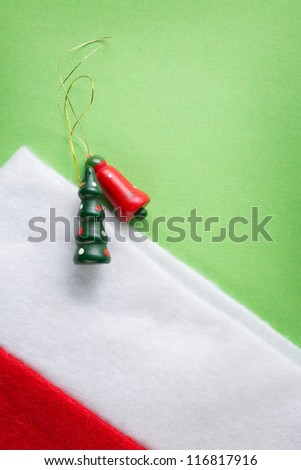 Santa sock with christmas decoration