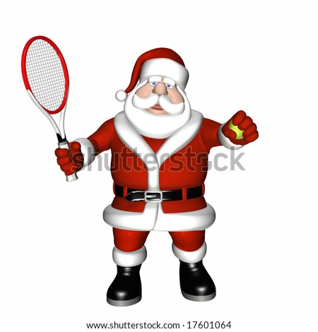 Santa Tennis 1 Santa Playing Tennis.  Holding his racket and ball. Isolated on a white background. - stock photo