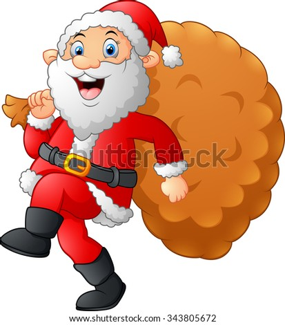 Santa walking and holding sack