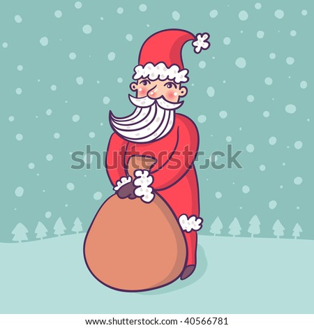Santa with a lot of presents - stock photo