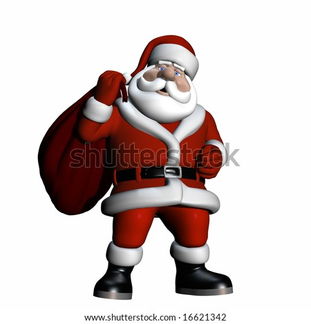 Santa With Bag of Gifts. Santa carrying a bag of gifts over his shoulder. Isolated on a white background.