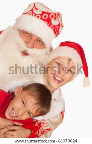 Santa with children on a white background