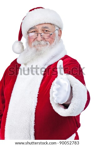 Santa with thumb up isolated over a white background - stock photo