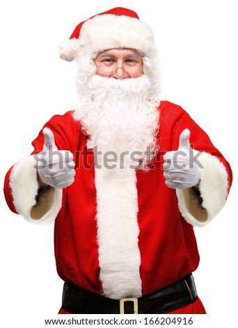 Santa with thumbs up isolated over a white background - stock photo