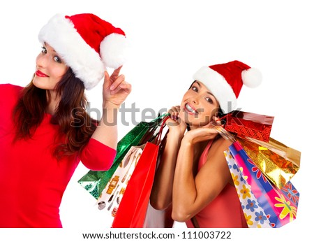 Santa woman with shopping bags. Isolated on white background. - stock photo