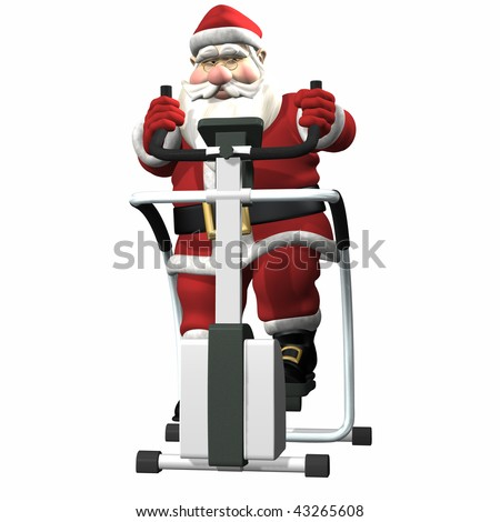 Santa Working Out on a Stair Stepper. Isolated.