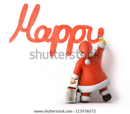 Santa writes Happy New Year, 3d image with work-path - stock photo