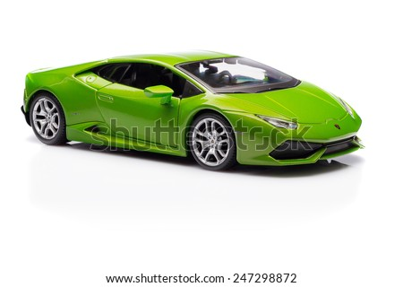 SANTAGATA BOLOGNESE, BOLOGNA, ITALY - JAN 20 - Toy lamborghini huracan on white background, Tuesday 20 January 2015 - stock photo