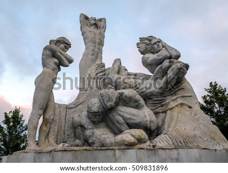 Santander, Spain - August 23, 2016: The Monument to the Fire of Santander and Reconstruction, opened in 1989, is one of the sculptural interventions Cobo Jose Calderon