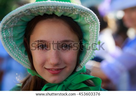SANTANDER, SPAIN - JULY 16: Unidentified girl, dressed of period costume in a costume competition celebrated in July 16, 2016 in Santander, Spain - stock photo