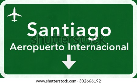 Santiago Chile International Airport Highway Sign 2D Illustration - stock photo