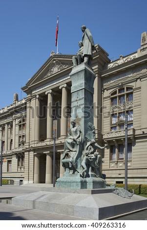 SANTIAGO, CHILE - MARCH 25, 2016: The Palacio de los Tribunales de Justicia de Santiago. Historic building in Santiago, Chile housing the Supreme Court of Chile. - stock photo