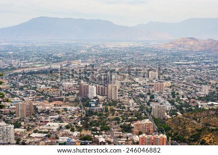 SANTIAGO, CHILE - NOV 1, 2014: Panoramic view of Santiago de Chile. Santiago de Chile is the capital and the largest city in Chile