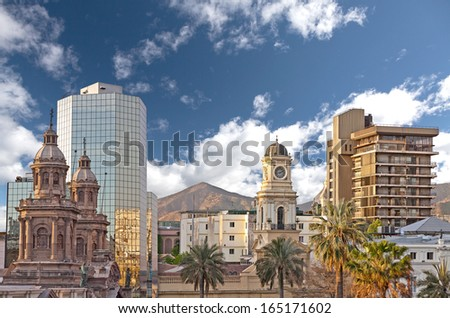 Santiago de Chile downtown, modern skyscrapers mixed with historic buildings, Chile. - stock photo
