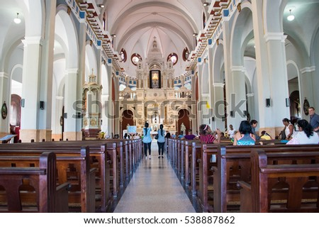 SANTIAGO DE CUBA, CUBA- NOVEMBER 23, 2016: Church of Our Lady of the Charity of El Cobre, Interior architectural details. Our Lady of Charity  is a popular Marian title of the Blessed Virgin Mary