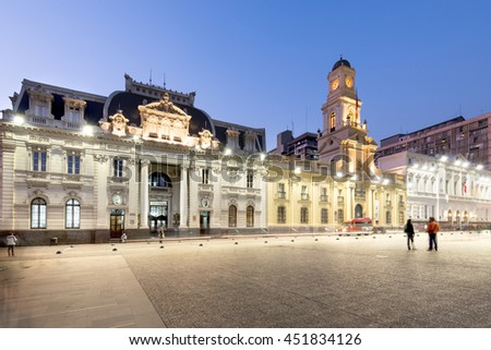 Santiago, Region Metropolitana, Chile - June 06, 2016: A view of buildings around Plaza de Armas, the main square of Santiago de Chile, with some emblematic buildings like the post office.