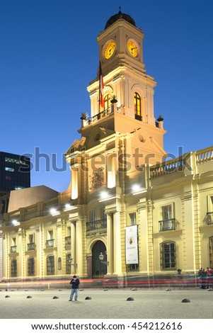 Santiago, Region Metropolitana, Chile - June 06, 2016: A view of Historic National Museum at the border of Plaza de Armas, the main square of Santiago de Chile.