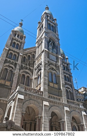 Santisimo Sacramento church facade at Buenos Aires - stock photo