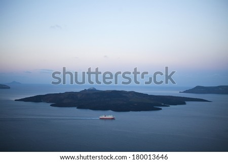 Santorini Caldera View early in the morning - stock photo