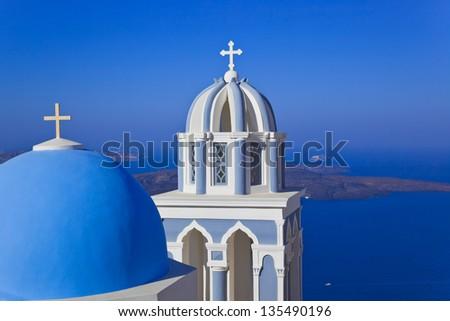 Santorini church (Firostefani) - vacation background - stock photo
