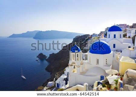 Santorini church (Oia), Greece - vacation background - stock photo
