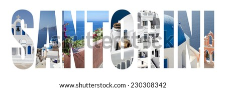 Santorini colorful landmarks letters - stock photo