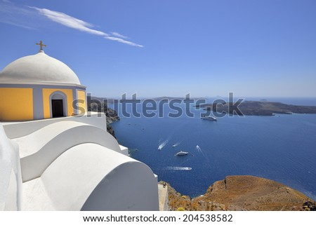 Santorini fira, view of the Aegean Sea, the left chapel