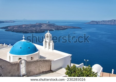 SANTORINI, GREECE - AUGUST 23: Agios Theodori Church on August 23, 2014 in Fira, Santorini. Fira is the main stunning cliff-perched town on Santorini, member of the Cyclades islands, Aegean sea.