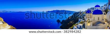 Santorini, Greece - Oia, panorama - stock photo
