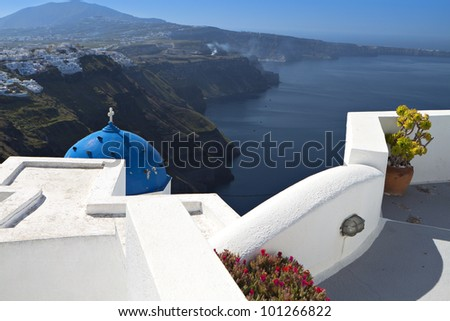 Santorini island and the Fira city in Greece