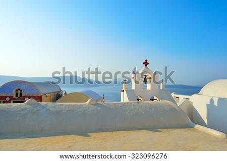 Santorini island at morning, Greece - stock photo