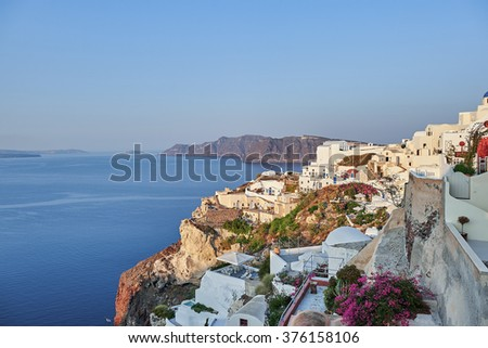 Santorini island at morning, Greece
