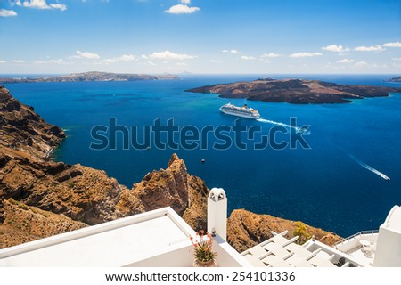 Santorini island, Greece. Cruise liners near the Greek Islands. Beautiful landscape with sea view.  - stock photo